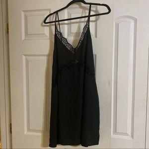 Black v neck slip dress